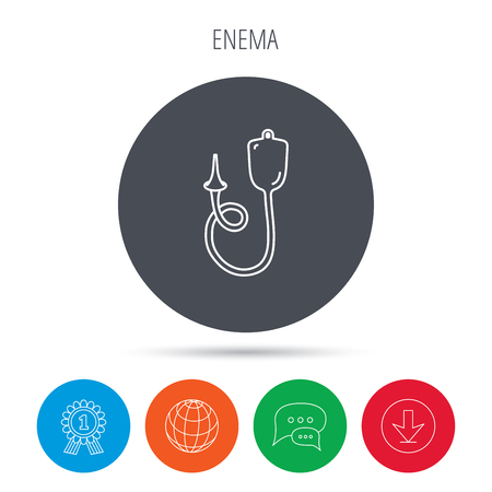 enema: Enema icon. Medical clyster sign. Globe, download and speech bubble buttons. Winner award symbol. Vector