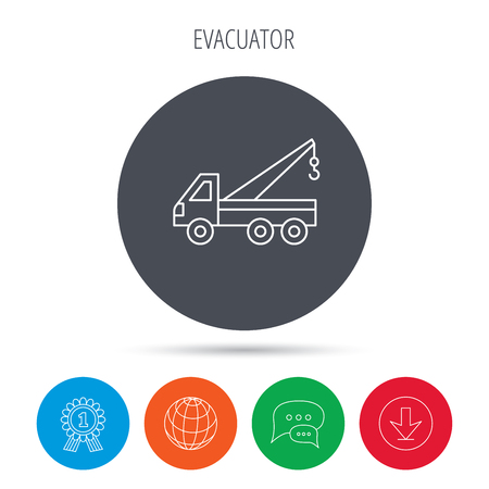 evacuate: Evacuator icon. Evacuate parking transport sign. Globe, download and speech bubble buttons. Winner award symbol. Vector Illustration