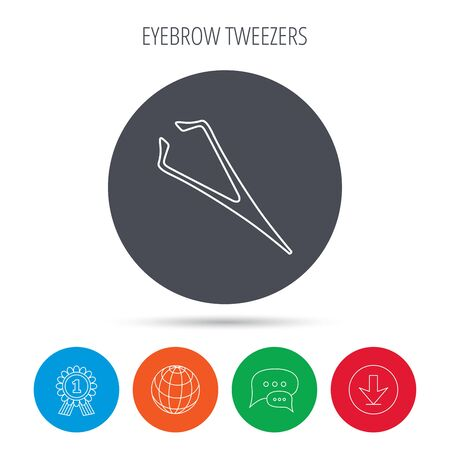aesthetic: Eyebrow tweezers icon. Cosmetic equipment sign. Aesthetic beauty symbol. Globe, download and speech bubble buttons. Winner award symbol. Vector