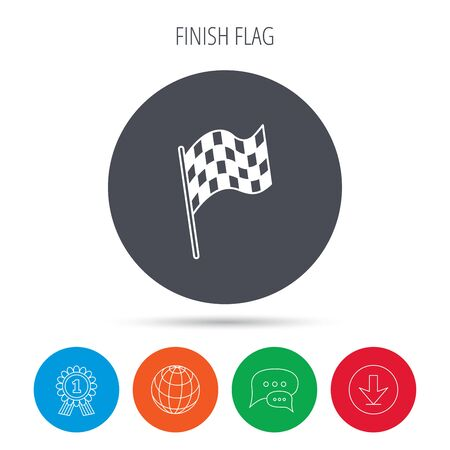 race winner: Finish flag icon. Start race sign. Globe, download and speech bubble buttons. Winner award symbol. Vector Illustration
