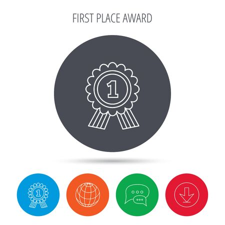 gold globe: Gold medal award icon. First place sign. Winner symbol. Globe, download and speech bubble buttons. Winner award symbol. Vector Illustration