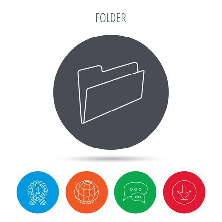 file folder: Folder icon. Accounting audit sign. Globe, download and speech bubble buttons. Winner award symbol. Vector