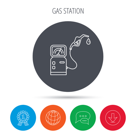 fuel pump: Gas station icon. Petrol fuel pump sign. Globe, download and speech bubble buttons. Winner award symbol. Vector