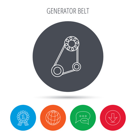 alternator: Timing belt icon. Generator strap sign. Repair service symbol. Globe, download and speech bubble buttons. Winner award symbol. Vector Illustration
