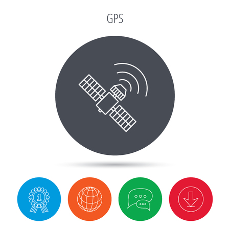 satellite navigation: GPS icon. Satellite navigation sign. Globe, download and speech bubble buttons. Winner award symbol. Vector