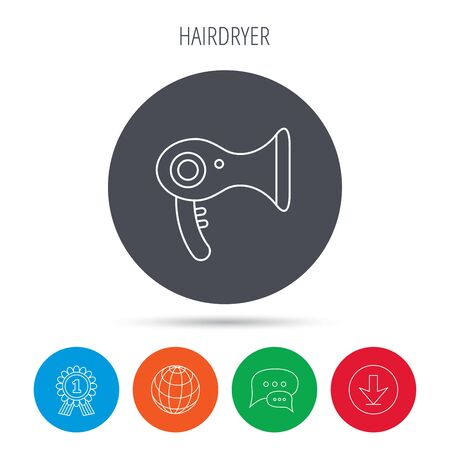 air diffuser: Hairdryer icon. Electronic blowdryer sign. Hairdresser equipment symbol. Globe, download and speech bubble buttons. Winner award symbol. Vector Illustration