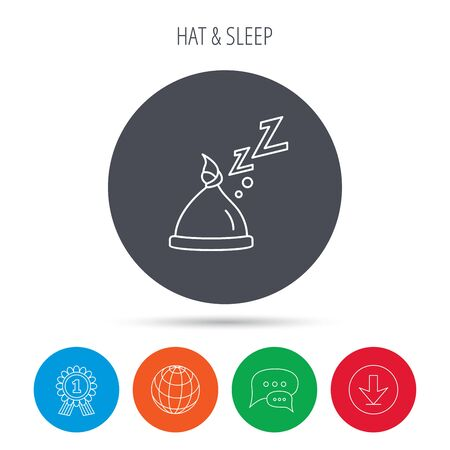 nodule: Baby hat with nodule icon. Newborn cap sign. Toddler sleeping clothes symbol. Globe, download and speech bubble buttons. Winner award symbol. Vector Illustration