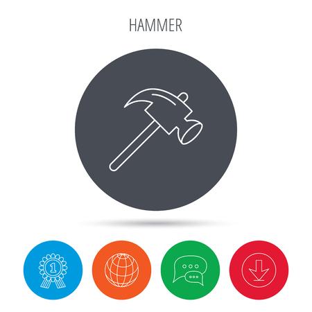 mat�riel chantier: Hammer icon. Repair or fix sign. Construction equipment tool symbol. Globe, download and speech bubble buttons. Winner award symbol. Vector Illustration