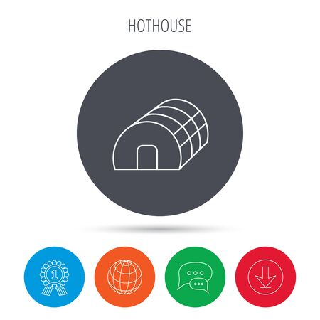 warm house: Greenhouse complex icon. Hothouse building sign. Warm house symbol. Globe, download and speech bubble buttons. Winner award symbol. Vector