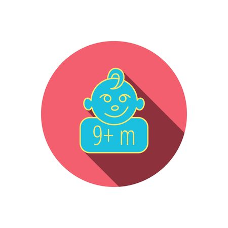 nine months: Baby face icon. Newborn child sign. Use of nine months and plus symbol. Red flat circle button. Linear icon with shadow.
