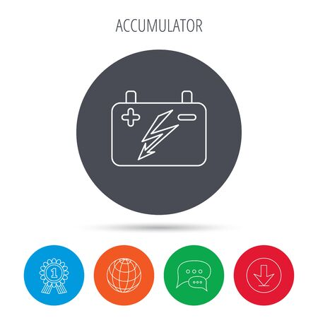 emitter: Accumulator icon. Electrical battery sign. Globe, download and speech bubble buttons. Winner award symbol.