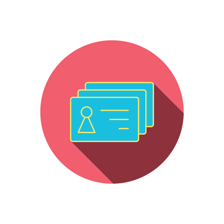 sign holder: Contact cards icon. Identification badges sign. Identity holder symbol. Red flat circle button. Linear icon with shadow. Illustration