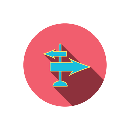 travel guide: Direction arrows icon. Destination way sign. Travel guide symbol. Red flat circle button. Linear icon with shadow.