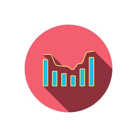 infochart: Dynamics icon. Statistic chart sign. Growth infochart symbol. Red flat circle button. Linear icon with shadow. Illustration
