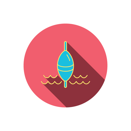 bobber: Fishing float icon. Fisherman bobber sign. Red flat circle button. Linear icon with shadow.