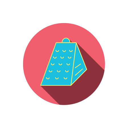 grated cheese: Grater icon. Kitchen tool sign. Kitchenware slicer symbol. Red flat circle button. Linear icon with shadow. Illustration