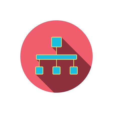 jerarquia: icono de jerarqu�a. signo organigrama. s�mbolo de base de datos. bot�n c�rculo plano rojo. icono lineal con la sombra.