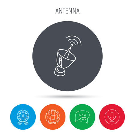 sputnik: Antenna icon. Sputnik satellite sign. Radio signal symbol. Globe, download and speech bubble buttons. Winner award symbol. Illustration