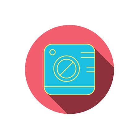 professional equipment: Vintage photo camera icon. Photography sign. Professional equipment symbol. Red flat circle button. Linear icon with shadow.