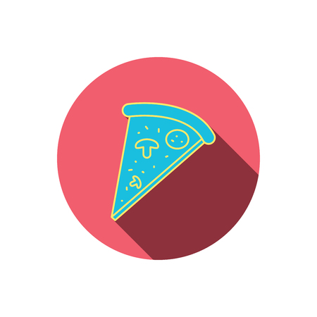 bake: Pizza icon. Piece of Italian bake sign. Red flat circle button. Linear icon with shadow. Illustration