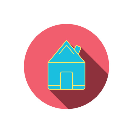 realestate: Real estate icon. House building sign. Real-estate property symbol. Red flat circle button. Linear icon with shadow.