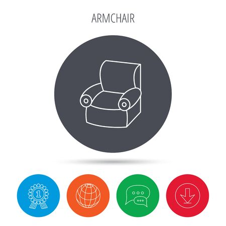 comfortable: Armchair icon. Comfortable furniture sign. Globe, download and speech bubble buttons. Winner award symbol. Illustration