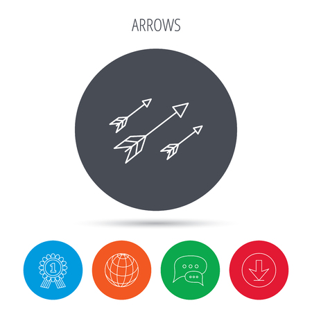 darts flying: Bow arrows icon. Hunting sport equipment sign. Archer weapon symbol. Globe, download and speech bubble buttons. Winner award symbol.