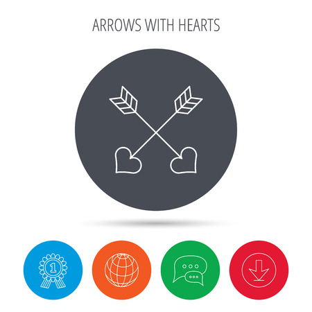 darts flying: Love arrows icon. Amour equipment sign. Archer weapon with hearts symbol. Globe, download and speech bubble buttons. Winner award symbol.