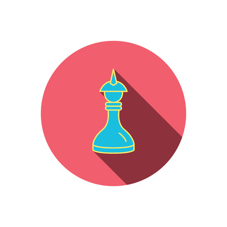 icon red: Strategy icon. Chess queen or king sign. Mind game symbol. Red flat circle button. Linear icon with shadow.