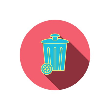 trash container: Recycle bin icon. Trash container sign. Street rubbish symbol. Red flat circle button. Linear icon with shadow. Illustration