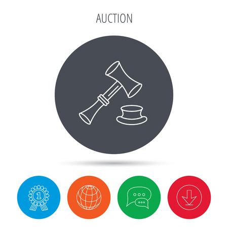sentencing: Auction hammer icon. Justice and law sign. Globe, download and speech bubble buttons. Winner award symbol.