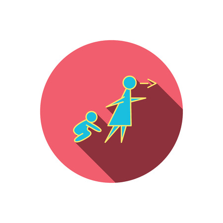 Unattended baby icon. Babysitting care sign. Do not leave your child alone symbol. Red flat circle button. Linear icon with shadow.  イラスト・ベクター素材