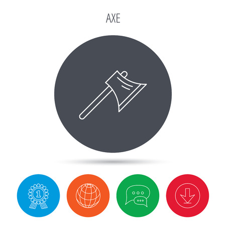 steel worker: Axe icon. Worker equipment sign. Steel weapon symbol. Globe, download and speech bubble buttons. Winner award symbol. Illustration