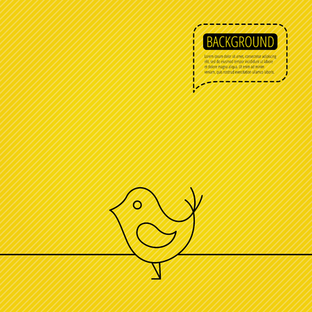 beak: Bird with beak icon. Cute small fowl symbol. Social media concept sign. Speech bubble of dotted line. Yellow background.