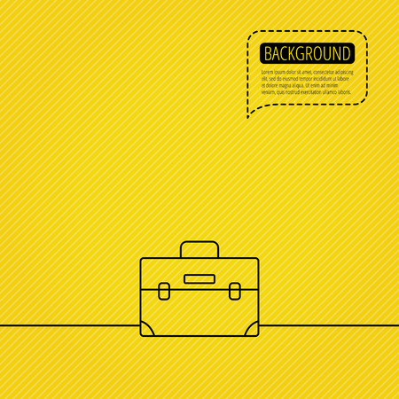 diplomat: Briefcase icon. Businessman case or diplomat sign. Hand baggage symbol. Speech bubble of dotted line. Yellow background. Illustration