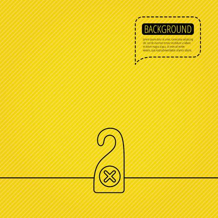 door hanger: Do not disturb icon. Sleep door hanger sign. Hotel maid service symbol. Speech bubble of dotted line. Yellow background. Illustration