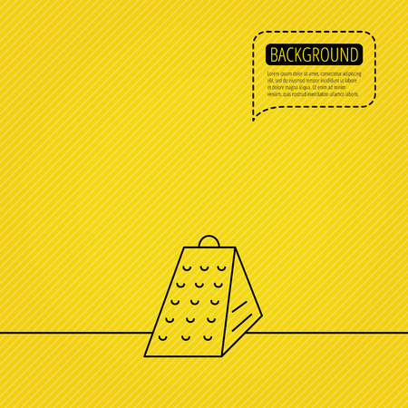 Grater icon. Kitchen tool sign. Kitchenware slicer symbol. Speech bubble of dotted line. Yellow background. Illustration