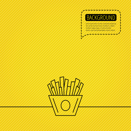 fried potatoes: Chips icon. Fries fast food sign. Fried potatoes symbol. Speech bubble of dotted line.Yellow background.
