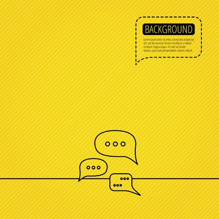 black yellow: Conversation icon. Chat speech bubbles sign. Communication clouds symbol. Speech bubble of dotted line. Yellow background.