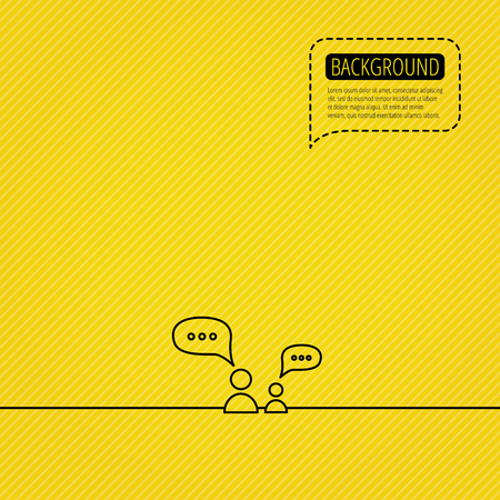 Dialog icon. Chat speech bubbles sign. Discussion messages symbol. Speech bubble of dotted line. Yellow background. Illustration