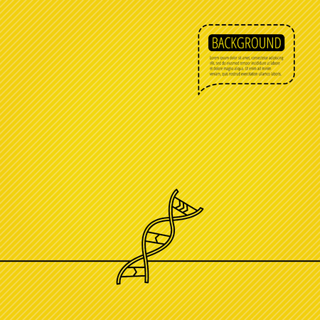 adenine: DNA icon. Genetic evolution structure sign. Biology science symbol. Speech bubble of dotted line. Yellow background. Illustration