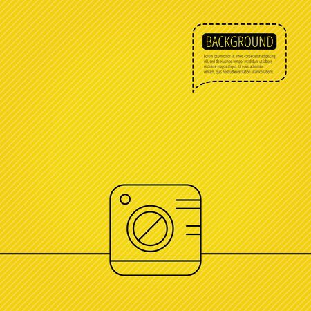 yellow photo: Vintage photo camera icon. Photography sign. Professional equipment symbol. Speech bubble of dotted line. Yellow background. Illustration