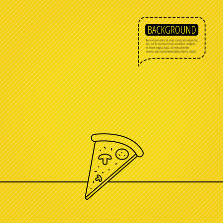 bake: Pizza icon. Piece of Italian bake sign. Speech bubble of dotted line. Yellow background.