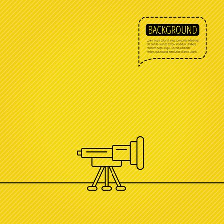 Telescope icon. Spyglass sign. Astronomy magnify lens symbol. Speech bubble of dotted line. Yellow background. Illustration