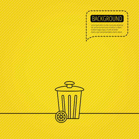trash container: Recycle bin icon. Trash container sign. Street rubbish symbol. Speech bubble of dotted line. Yellow background. Illustration