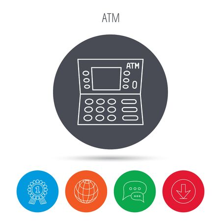 creditcard: ATM icon. Automatic cash withdrawal sign. Globe, download and speech bubble buttons. Winner award symbol.
