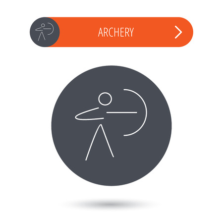 longbow: Archery sport icon. Archer with longbow sign. Aiming or targeting symbol. Gray flat circle button. Orange button with arrow. Illustration
