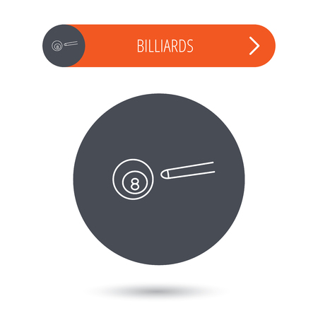 Billiard ball icon. Pool or snooker equipment sign. Cue sports symbol. Gray flat circle button. Orange button with arrow.