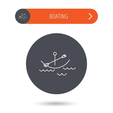 Kayaking on waves icon. Boating or rafting sign. Canoeing extreme sport symbol. Gray flat circle button. Orange button with arrow.