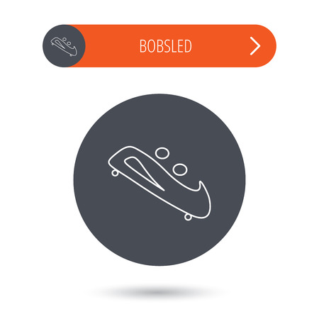 bobsleigh: Bobsleigh icon. Two-seater bobsled sign. Professional winter sport symbol. Gray flat circle button. Orange button with arrow.